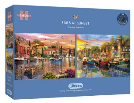 Sails at Sunset by Dominic Davison 2x 500 Piece Gibsons Jigsaws